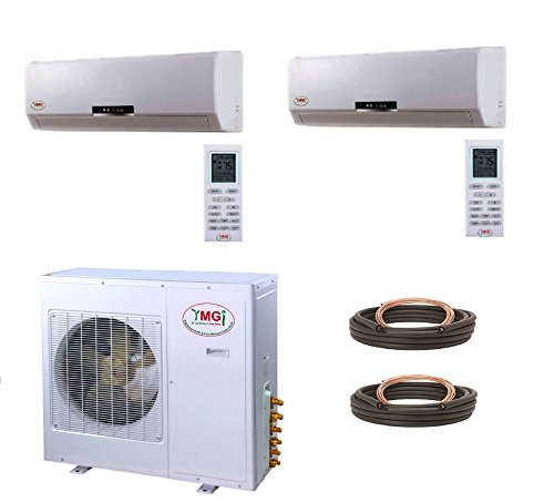 YMGI 36000BTU 12000+24000 DUAL ZONE DUCTLESS MINI SPLIT AIR CONDITIONER HEAT PUMP