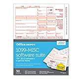 #1: Office Depot(R) Brand 1099-MISC Inkjet/Laser Tax Forms With Software For 2017 Tax Year, 2-Up, 4-Part, 8 1/2in. x 11in, Pack Of 50