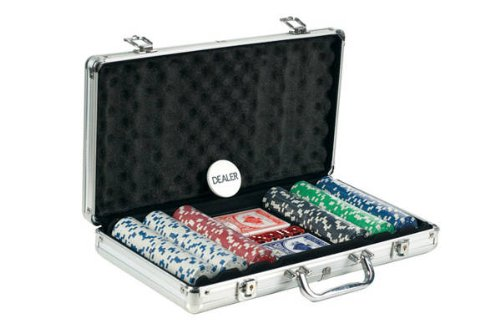 (300 Piece Dice Design Poker Chips in Aluminum Case, Silver Color)