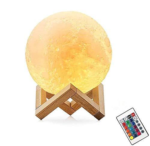 Lampara De Luna Led 3D,16 Colores Luz de Noche Ambiente Lamparas, USB Recargable Remoto Control Control Tactil Luz Decorativa para Dormitorio, Salon (10CM)