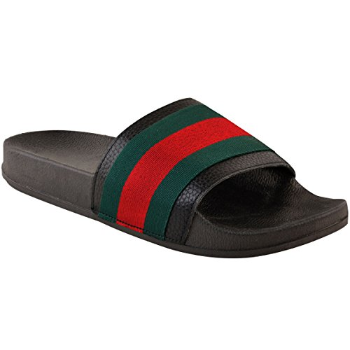 Black Faux Slippers Size Slides Womens Thirsty Slider Mules Striped Leather Sandals Fashion Summer Sliders Flat p7RAqw