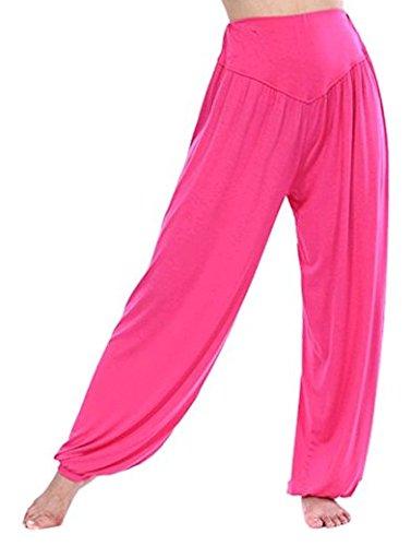 Leisial Pantalones de Yoga Algodón Suave Piernas Pantalones Anchos Sólido Color Elástico Pretina Pantalones Bombachos de Fitness Bailan Deportivo para Mujeres,Rosado XL