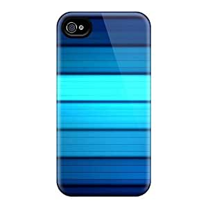 Slim Fit Tpu Protector Shock Absorbent Bumper Blue Lines Case For Iphone 4/4s