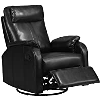 Monarch Specialties Bonded Leather Swivel Rocker Recliner, Black