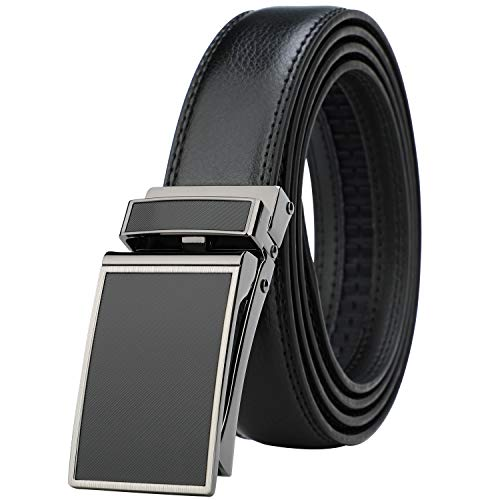 (Men's Comfort Genuine Leather Ratchet Dress Belt with Automatic Click Buckle (Suit Pant Size 28