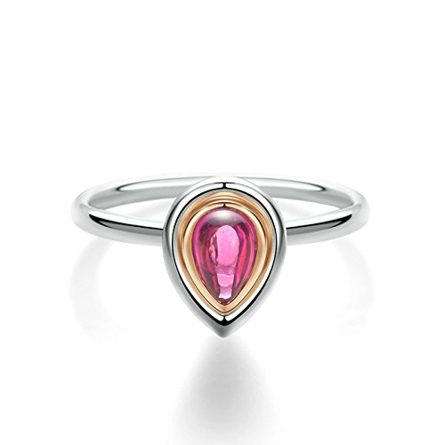 Beydodo Rings for Women 18k Real Gold Wedding Bands Ring Pear Cut Red Tourmaline Platinum Ring Size 8 by Beydodo