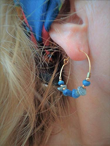 ꧁ ORO TURQUESA MADERA PIEDRA MADERA DE PERLAS CREALES CORALALES ꧂ Pendientes en oro turquesa azul claro hechos de materiales naturales