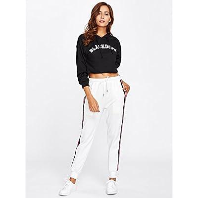 SweatyRocks Women's Drawstring Waist Striped Side Jogger Sweatpants with Pocket at Women's Clothing store