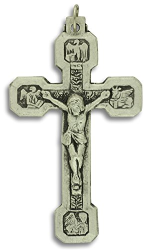 14 Stations of the Cross Crucifix Large 2-1/2 Inch Pendant Rosary Crucifix - Fourteen Stations Crucifix