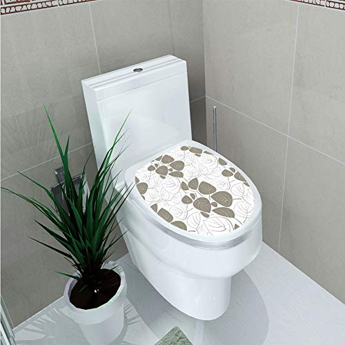 Toilet Cover Decoration,Leaves,Leaves Pattern Outline Silhouette Ornament Floral Design Victorian Style Art Decorative,Gray White,3D Printing,W11.8