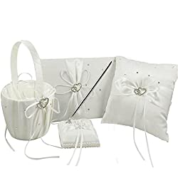 4Pcs Wedding Ceremony Romantic Decor Sets Elegant Ribbon Bowknot Double Heart Rhinestone Rustic Wedding Party Favor Decoration Kits, Wedding Ring Pillow+Girls Flower Basket+Guest Boo + Pen (Ivory)