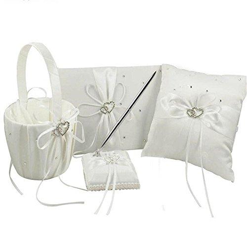 4Pcs Wedding Ceremony Romantic Decor Sets Elegant Ribbon Bowknot Double Heart Rhinestone Rustic Wedding Party Favor Decoration Kits, Wedding Ring Pillow+Girls Flower Basket+Guest Boo + Pen (Ivory)