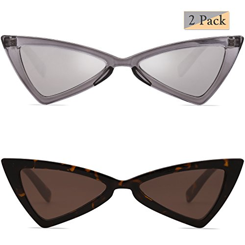 SojoS Small Cateye Sunglasses for Women Men High Pointed Triangle Glasses SJ2051 with Transparent Grey Frame/Silver Mirrored Lens + Tortoise Frame/Brown Lens 2 Pairs of - Sunglasses In Cats