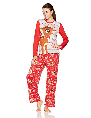 Rudolph the Red Nosed Reindeer Christmas Holiday Family Sleepwear Pajamas (Small, Mom Rudolph)