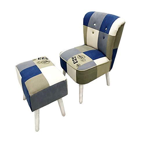 CC EFIND Set of 2 Accent Chair Ottoman Foot Rest, Mid Century Modern Armless Slipper Chairs Foot Stool, Blue Canvas Upholstered Chair Patio Living Room