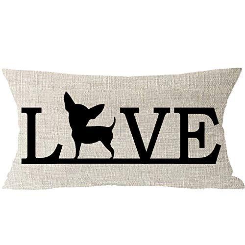 Family Cute Pet Friend Animal Dog Love Chihuahua Cotton Linen Square Throw Waist Pillow Case Decorative Cushion Cover Pillowcase Sofa Lumbar 12x20 inches