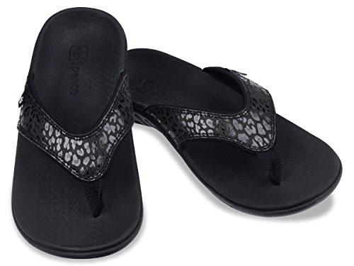 Spenco Women's Yumi Cheetah Sandal, Black, 9 M (09 Cheetah)