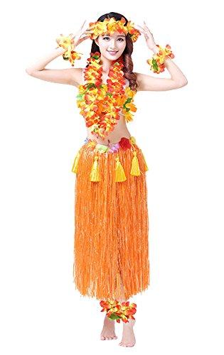 Rosemary Hawaiian Hula Dance Costume Ballet Show Cosplay Dress Skirt Garland For Adult 80CM Full Sets Orange]()