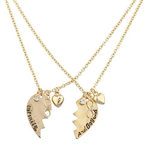 Lux Accessories Infinity Beyond Broken Detachable Heart Charm Necklace Set 2PC