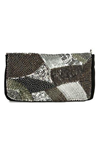 MyBatua Madeline Negro y Plata del bolso de embrague de las señoras del bolso de hombro ACP-109