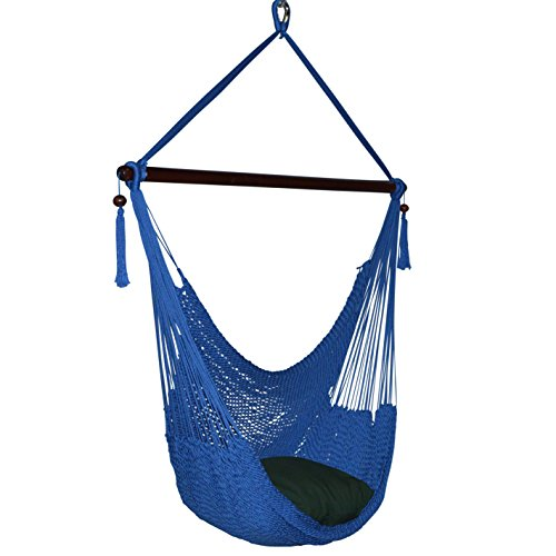 Caribbean Hammocks Large Chair - 48 Inch - Polyester - Hanging Chair - dark blue -