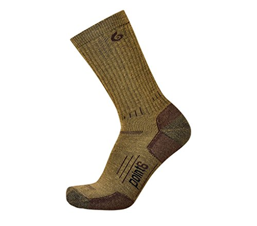 Point6 Boot, Medium Mid-Calf sock - X Large, Coyote Brown with a Helicase sock ring