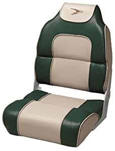 Wise High Back Boat Seat with Logo (Green/Tan)