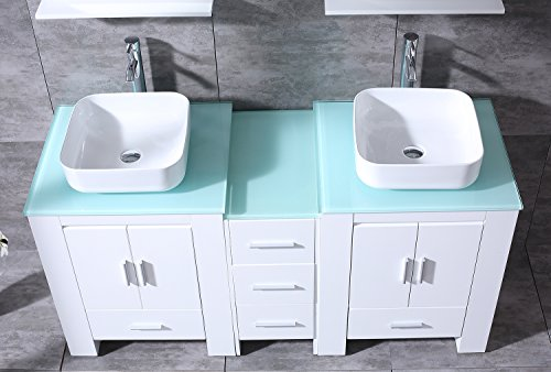 "BATHJOY Luxury 60"" White Bathroom Double Wood Vanity Cabinet with Square Ceramic Vessel Sink and Mirrors Faucet Drain Combo by BATHJOY (Image #5)"