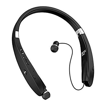 Gzymh Bluetooth V4.1 Stereo Headset Foldable Sport Wireless Headphone Neckband with Retractable Earbuds Compatible for iPhone,iPad, Samsung Galaxy and Android Series Phones