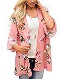 Kimonos for Women Boho Style Jacket Style Beach Wrap Cape Dress Tops Flowy Fashion Kimono Tops Plus Size (Pink X-Large)