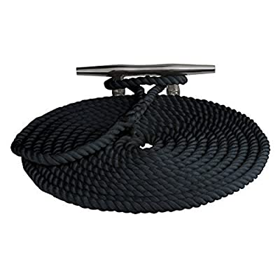 "Sea Dog 302112025BK-1 Double Braided Nylon Dock Line, 1/2"" x 25' / Black by Northern Wholesale Supply, Inc (Boating)"
