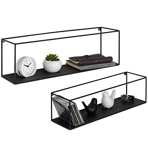 MyGift Black Metal Wall-Mounted Rectangular Display Shelves, Set of ()