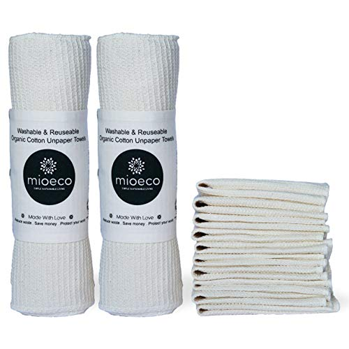 (Reusable Unpaper Towels | Bamboo Paper Towels Alternative | Best Organic Cotton | Thick, Strong, Washable, Paperless Kitchen Roll | Eco Friendly Products | Reusable Napkins | Zerowaste (20 Pack))