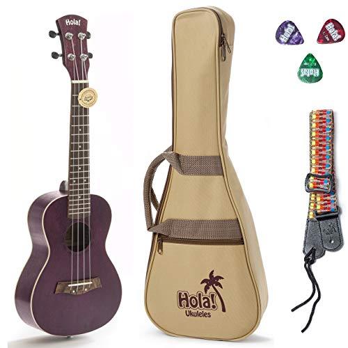 Concert Ukulele Bundle, Deluxe Series by Hola! Music (Model HM-124PP+), Bundle Includes: 24 Inch Mahogany Ukulele with Aquila Nylgut Strings Installed, Padded Gig Bag, Strap and Picks - Purple
