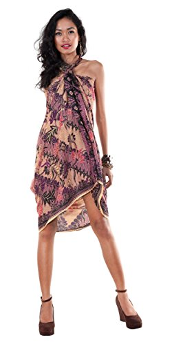 1 World Sarongs Womens Traditional Batik Motif Sarong in Purple - Parang -