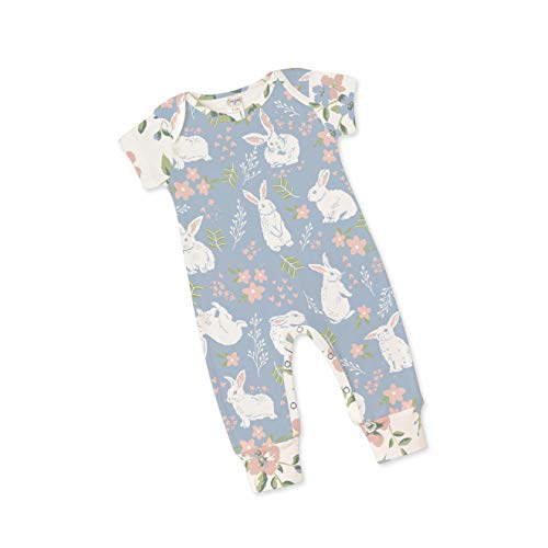 Tesa Babe Easter Bunny Flower Short Sleeve Romper, Newborn & Baby Girl Playsuit, Blue (6-12 -
