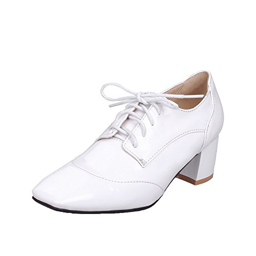 Odomolor Women's Lace-up Kitten-Heels Patent Leather Solid Closed-Toe Pumps-Shoes, White, 38