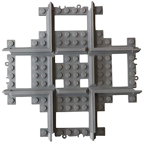 Compatible Custom Cross Track, Straight Cross Tracks Crossover, Compatible with Lego Train Rails and Sets, Compatible with Lego City Straight Tracks ()