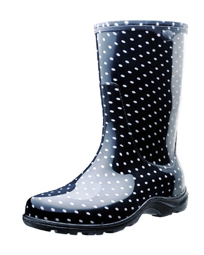 Sloggers Women's Waterproof Rain and Garden Boot with Comfort Insole, Black/White Polka Dot, Size 6, Style 5013BP06 (Rainboot)