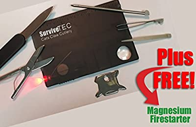 Best Credit Card multi tool & LED multitool for survival rescue travel camping fishing. FREE fire starter (limited). 16 in 1 Outdoor pocket knife w/ stainless steel knife, pen & more. Light ABS case fits in wallet or pocket! Lifetime guarantee!