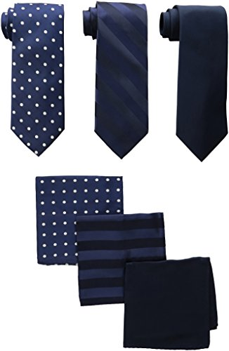 Stylish Solid Satin (Stacy Adams Men's 3 Pack Satin Neckties Solid Striped Dots with Pocket Squares, Navy One Size)