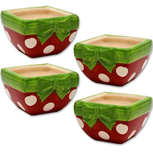 Ceramic Bowl Design Red Dog - Gift Boutique Ceramic Christmas Candy Dish Bowl Holiday Party Table Centerpiece Decorations, Set of 4 Green and Red Present Box Design