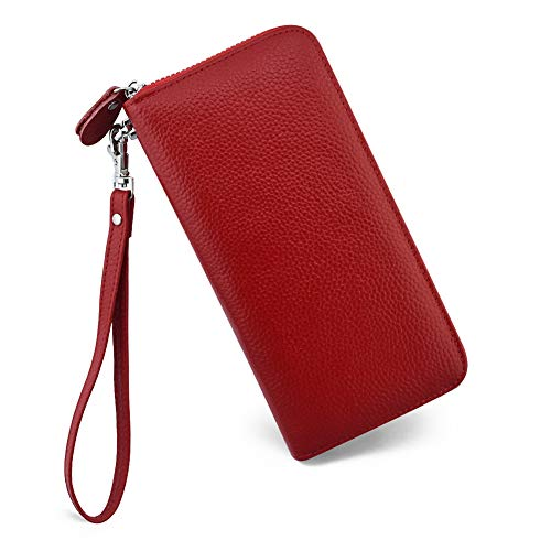 Womens Wallet RFID Blocking Genuine Leather Zip Around Wallet Clutch Wristlet Travel Long Purse for ()