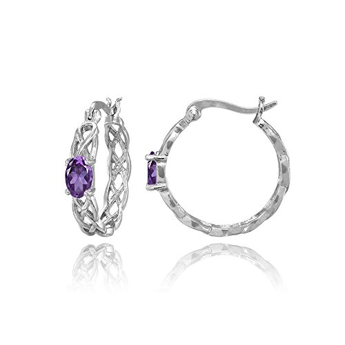 Sterling Silver African Amethyst Celtic Knot Round Hoop Earrings
