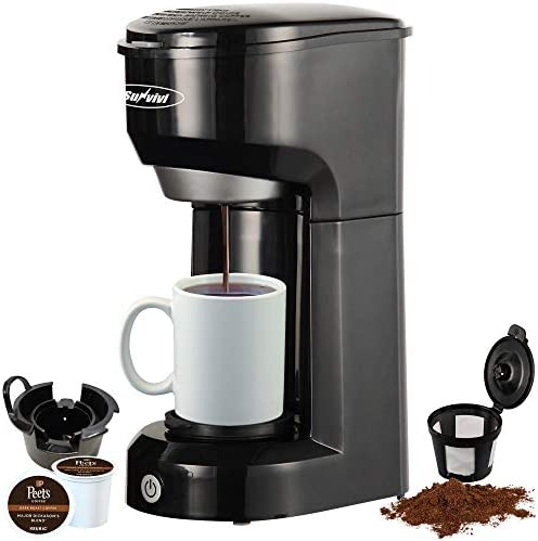 Single Serve Ok Cup Coffee Maker for Pods and Ground Coffee, Permanent Filter, 6-14OZ Reservoir One-Touch Control Button Coffee Machine,Black