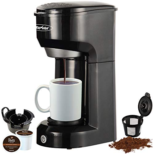 Single Serve K Cup Coffee Maker for K-Cup Pods And Ground Coffee, Permanent Filter, 6-14OZ Reservoir One-Touch Control Button Coffee Machine,Black
