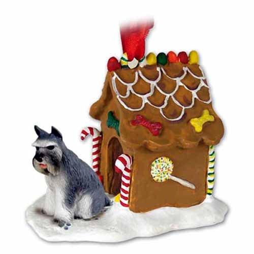 Conversation Concepts Schnauzer Gingerbread House Christmas Ornament Gray - DELIGHTFUL!