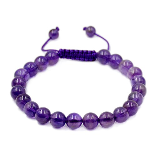 AD Beads Natural 8mm Gemstone Bracelets Healing Power Crystal Macrame Adjustable 7-9 Inch (8 Genuine Amethyst Stones)