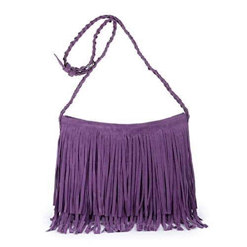 Bolso De La Franja De Crossbody Del Ante Del Cuero Del Monedero De La Cartera Del Teléfono Móvil Para Las Mujeres Purple