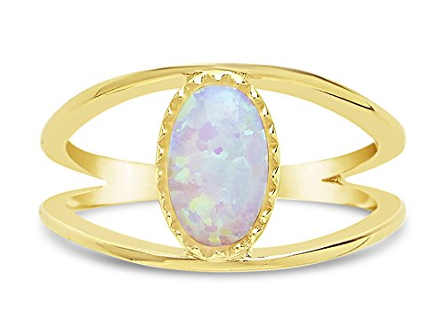 Sterling Forever - Opal Open Band Ring, 14K Gold Vermeil, Created Opal Gemstone Open Band Ring Size: 5 (Gemstone Opal Gold)